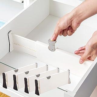 Séparateurs de Tiroir ( Lot de 4) Organisateurs de Tiroir Réglables, (28.3 - 43.5 cm) Diviseur de Tiroir Cuisine pour Cham...