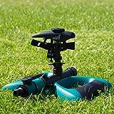 Oasis-Ahead Aspersor de Riego K-200 Cabeza de Impacto de Largo Alcance para Regar el Césped de tu Jardín con hasta 360 Grados con Válvula de Cierre de Agua y Base de Metal Ponderado