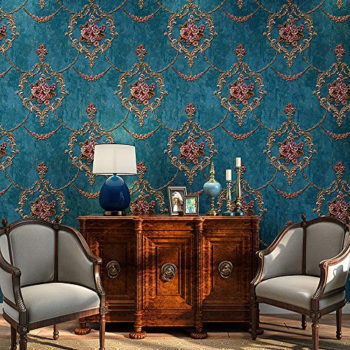 Blooming Wall Textured Vintage Damasks Floral Pattern Wallpaper Wallcoverings for Walls, 57 Square ft/Roll (Blue(Flower))