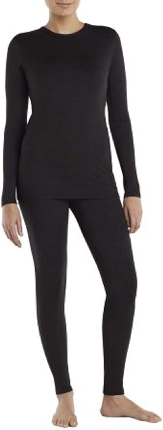 Cuddl Duds ClimateRight Women's Sueded Warmth Warm Long Sleeve Crew with Thumbholes Top