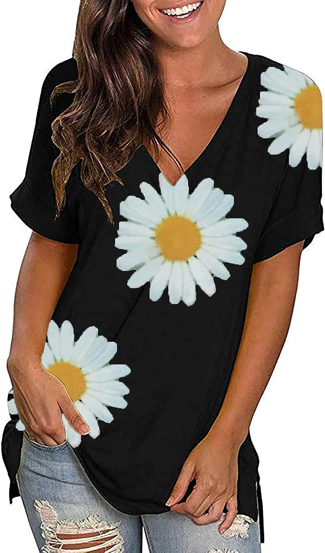 2021 Summer Fashion T-Shirt for Womens Tops V-Neck Short Sleeve Daisy Print T-Shirt Loose Blouse Tunic Tops