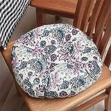 EXQULEG 2er Set Sitzkissen, Rund Stuhlkissen mit Bändern, Rundes Kissen Sitzkissen Stuhl, Bodenkissen Sitzauflage Sitzkissen für Haus Dekoration (J,45x45cm)