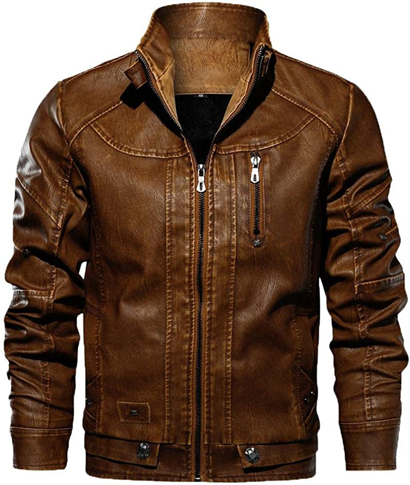 Men's Faux Leather Bomber Jackets Classic Heavyweight Winter Warm Coats Motorcycle Vintage Outerwear
