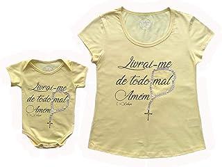 T-shirt adulta feminina e body de bebê Livrai-me do mal