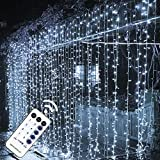 MAGGIFT 304 LED Curtain String Lights, 9.8 x 9.8 ft, 8 Modes Plug in Fairy String Light with Remote Control, Christmas, Backdrop for Indoor Outdoor Bedroom Window Wedding Party Decoration, Cool White