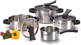 Happycall 8 Piece Dining Room Kitchen Fondue Pasta Pots Cooking Cookery Cookware Stainless Steel Pot Set Kitchen Aluminum Happy Call