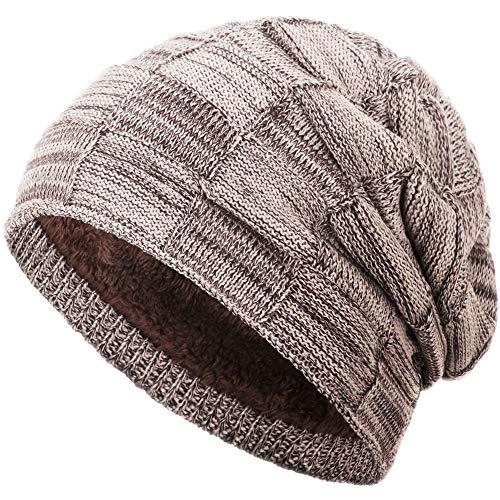 Compagno warm gefütterte Beanie Wintermütze Flechtmuster unifarben oder meliert Einheitsgröße Mütze, Farbe:Hellbraun meliert