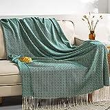 AUSTINCIAGA Manta decorativa para sofá o cama, con flecos, diseño de rombos