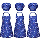 3 Sets Kids Apron and Chef Hat Waterproof Child Aprons with Pockets for Toddlers Cooking Baking Painting Art, Ages 3-5