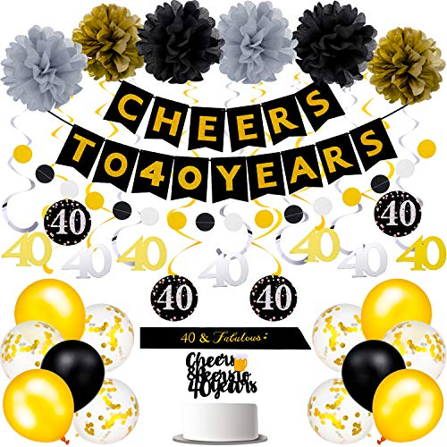 40th Birthday Decorations, Cheers to 40 Years Banner, Hanging Swirls, Pom Poms, Black and Gold Confetti Balloon, Sash, Circle Dot Garland, Cake Topper for 40th Birthday Anniversary Party Supplies