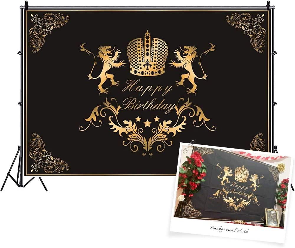 CSFOTO Ranking integrated 1st place Polyester 5x3ft Happy Birthday Gol Backdrop Challenge the lowest price of Japan Men Black for