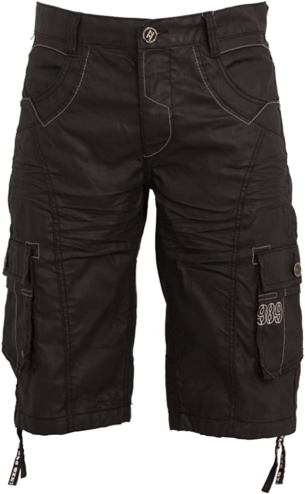 New Mens ENZO Cargo Combat Coated Casual Shorts All Waist Sizes