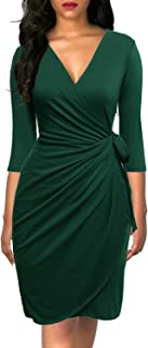Women's Classic 3/4 Sleeve V Neck Sheath Casual Party Work Faux Black Wrap Dress