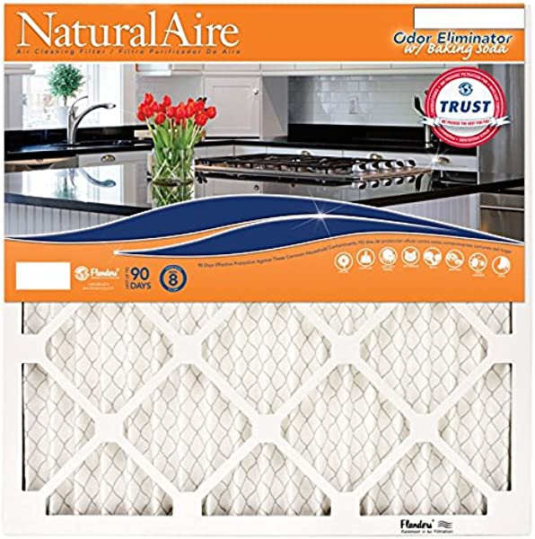 NaturalAire Odor Eliminator Air Filter With Baking Soda MERV 8 20 X 20 X 1 Inch 4 Pack