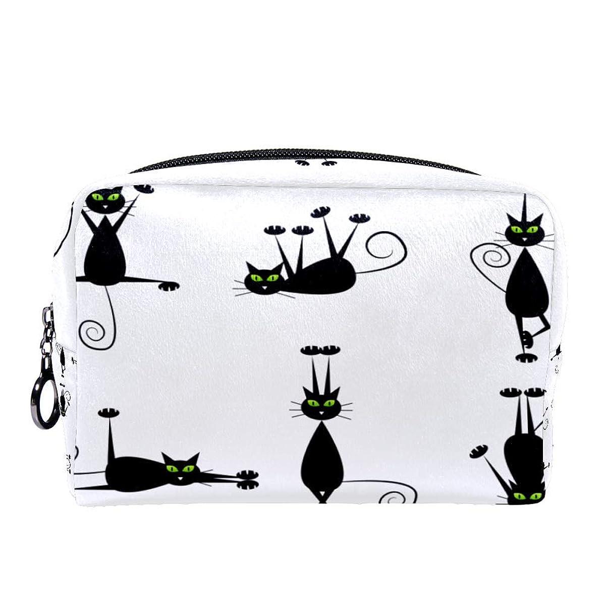 神経評決ブレーキDragon Sword 化粧ポーチ レディース 黒い 猫柄 コスメポーチ メイクポーチ 柔らかい コンパクト 軽量 化粧品収納 小物ポーチ出張 旅行 持ち運び便利