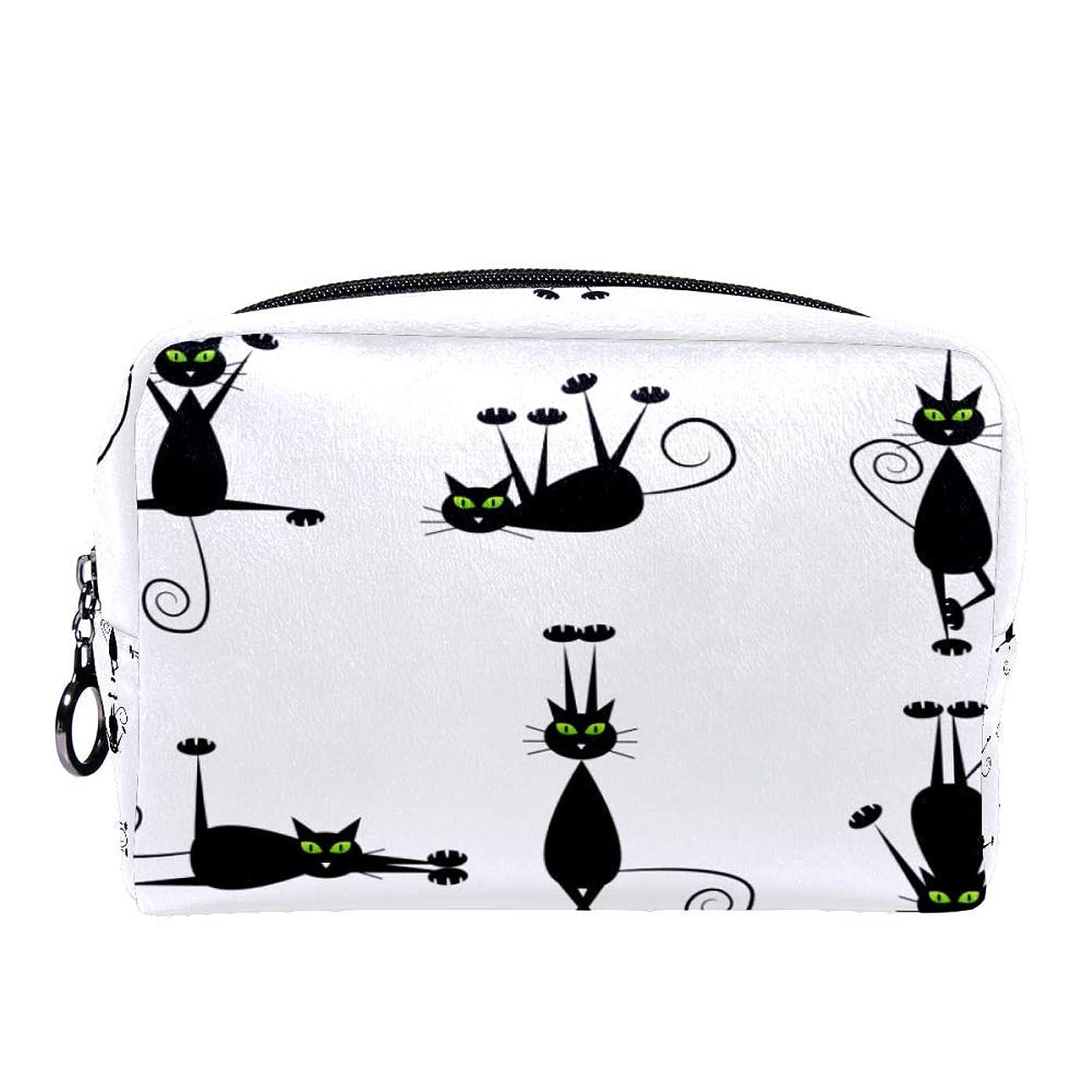 特異な工業化するに対してDragon Sword 化粧ポーチ レディース 黒い 猫柄 コスメポーチ メイクポーチ 柔らかい コンパクト 軽量 化粧品収納 小物ポーチ出張 旅行 持ち運び便利
