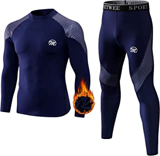 MEETWEE Men's Thermal Underwear Set, Winter Base Layer Long Johns Quick Dry Compression Suit Long sleeve Tops and Botttom ...