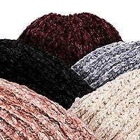 女性暖かいニット帽子女性秋の スタイリッシュな冬のハットシェニール素材冬のキャップレディホットキャップ (Color : Red)