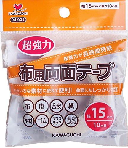 カワグチ KAWAGUCHI 超強力布用両面テープ 透明 10m巻 幅15mm [0047]