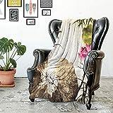 ONTILFUC Decken,Bettwaren,Blatt-Hawaii-Sommer-Tropeninsel-Vegetations-Blätter mit Hibiscus-Blumen,Soft Warm Print Throw Blanket,leicht, Bettwäsche, Kuscheldecken,150×180CM