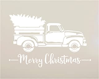 Little Red Truck with Merry Christmas Stencil by StudioR12 | for Painting Wood Signs | Vintage Script Lettering | Retro Holiday Home Decor | Rustic Old Fashioned Holiday : Choose Size (13