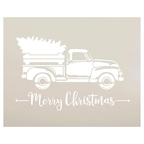 Old Truck With Christmas Tree Painting.Large Christmas Stencils Amazon Com
