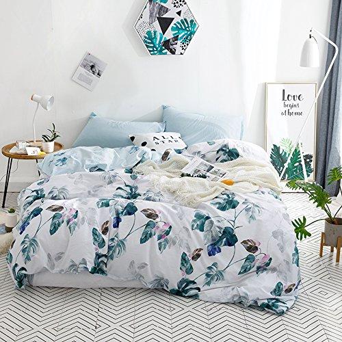 YuYang Juego de sábanas cómodas y Suaves Juego de Ropa de Cama con, Diseño de Hoja de Palma Verde, 100% algodón, antialérgico, Anti decoloración, impresión HD para Todo el Mundo 200_x_200_cm