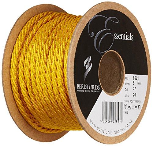 Berisfords Cordoncino Barley Twist 5 mm x 20 m, Giallo Oro