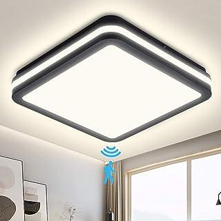 Plafón LED con detector de movimiento, 18W 1800LM, Plafón LED con sensor de movimiento ajustable, lámpara con sensor impermeable IP54 para recibidor, baño, escaleras, sótano, recibidor, garaje