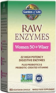 Garden of Life Vegetarian Digestive Supplement for Women 50 & Wiser - Raw Enzymes for Digestion, Bloating, Gas, and IBS, 9...