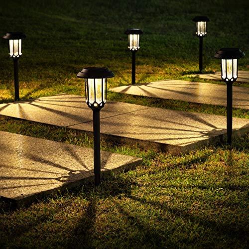 LeiDrail Solarleuchte Garten Solarlampen für Außen 8 Stück LED Solar Gartenleuchten wasserdichte Gartendeko Solarleuchten Warmweiß Deko Licht für Garten Weg Hof