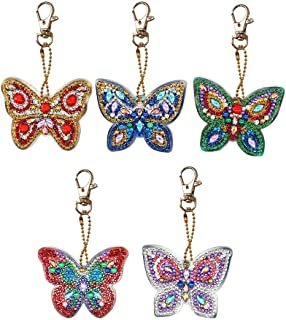 Keychain With DIY Diamond Painting,5D Mosaic Making Full Drill Keyring,5pcs DIY Full Drill Diamond Painting Special Shaped Butterfly Keychain Gift