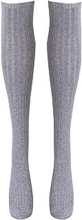 LCM, LCM Medias de Las Mujeres Gaiters a Rayas de Calcetines Largos Muslo Invierno Altos Medias Calientes sobre Calcetines de Rodilla Medias Suave de Lana (Color : Gray)