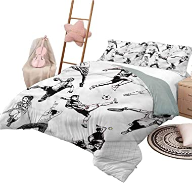 Nomorer Duvet Cover Pattern Queen Size Sketchy Bedspread Bed Cover for All Season Various Sports Athletes