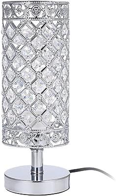 Tomshin-e Crystal Bedside Table Lamp Sliver Bedroom Nightstand Light Modern E27 Lamp for Living Room,Guest Room,Dresser Table Decoration Ideal Gift