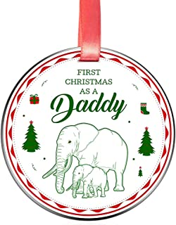 Elegant Chef First Christmas as a Daddy Ornament for New Dads- Tree Hanging Decoration Gift for Xmas Holidays Celebration- Baby & Father Elephant Festival Decor Ornaments- 3 inch Flat Stainless Steel