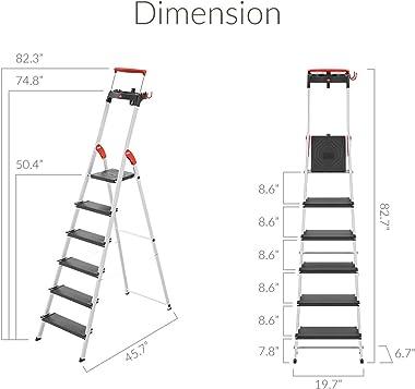 Hailo 0850-627 L100 Pro, 6-Ft Folding Lightweight Aluminum Step Platform Ladder, Black