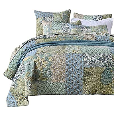 NEWLAKE Bohemian Floral Pattern Bedspread Quilt Set with Real Stitched Embroidery,Queen Size from NEWLAKE
