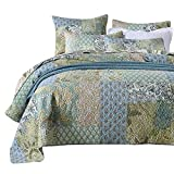NEWLAKE Bedspread Quilt Set with Real Stitched Embroidery, Bohemian Floral Pattern,King Size