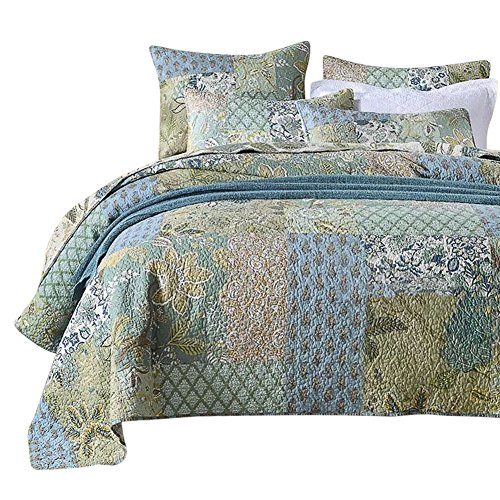 NEWLAKE Bohemian Floral Pattern Bedspread Quilt Set with...