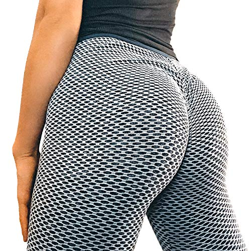Price comparison product image YOFIT Women Ruched Butt Lift Yoga Pants High Waist Tummy Control Sport Gym Running Workout Leggings 6 Gray Large