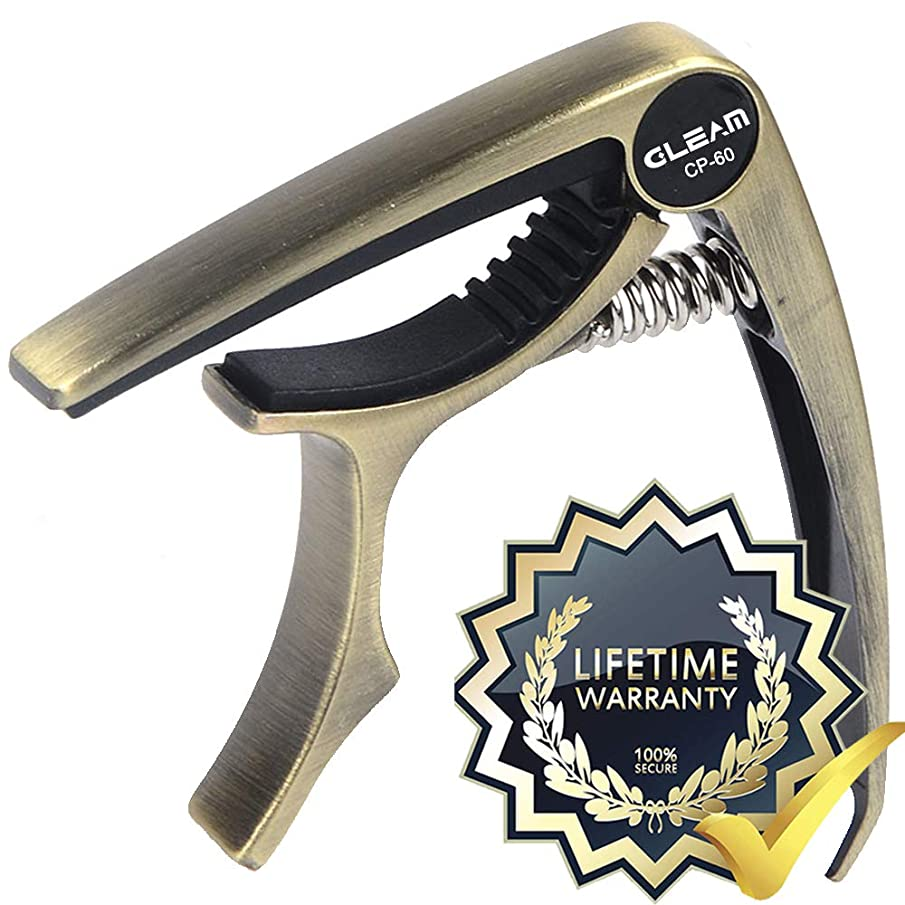 GLEAM Trigger Guitar Capo for Acoustic and Electric Guitar with Metal Case and Carrying Bag (Dark Golden)