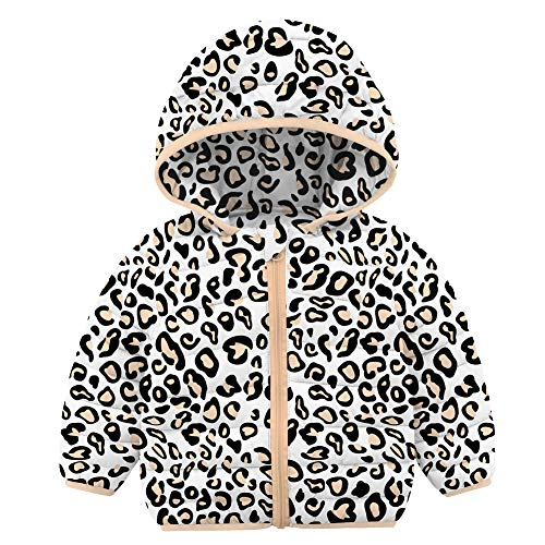 RAISEVERN Bebé Niños Niñas Abrigos de Leopardo de Invierno Capuchas Chaqueta de plumón Ligera Outwear