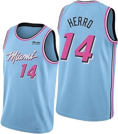 NBNB Tyler Herro - Jersey de baloncesto para hombre, diseño de héroe hermano 14 # Miami Heat Jersey, unisex sin mangas, bordado de malla Swingman, ...