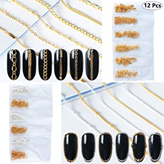 Nail Chains 3D Nail Charms Nail Art Decoration 12 Strips Metal Glitter Bling Gold Silver Nail Studs Chains Nail Jewelry Accessories Manicure Tips Acrylic Nail Art Supplies DIY Fingernails Decor