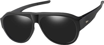 63691f1046 DUCO Pilot Style Men s and Women s Polarised Wrap Around Fit-Over  Sunglasses over Prescription Glasses 8959 (Black Grey)