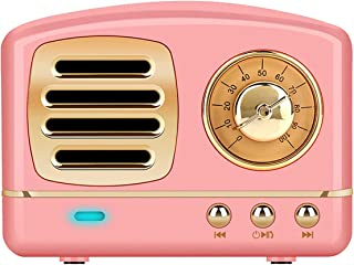 Dosmix Wireless Stereo Retro Speakers, Portable Bluetooth Vintage Speakers with Powerful Sound, Hands-Free Calls, Alexa Support, TF Card, AUX for Kitchen Bedrooms Party Outdoor Android iOS Pink