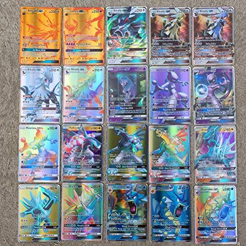ZARQ Pokemon Karten, 100 Stück Pokémon Verschiedene Karten Pokemon Flash Karten 59 EX Pokemon Karten + 20 Mega Pokemon Karten + 20 GX Pokemon Karten + 1 Pokemon Energiekarten