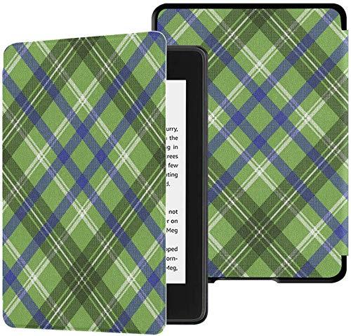 Gloednieuwe Kindle Paperwhite waterbestendige stoffen hoes (10e generatie, uitgave 2018), groene geruite Schotse ruit geruite naadloze pixelpatroon vector tabletbehuizing