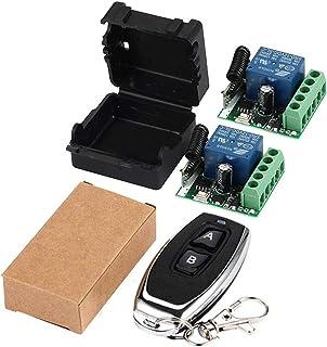 QIACHIP 433Mhz Universal Wireless Remote Control Switch DC 12V 1CH Relay Receiver Module RF Transmitter (Transmitters 2 Bu...
